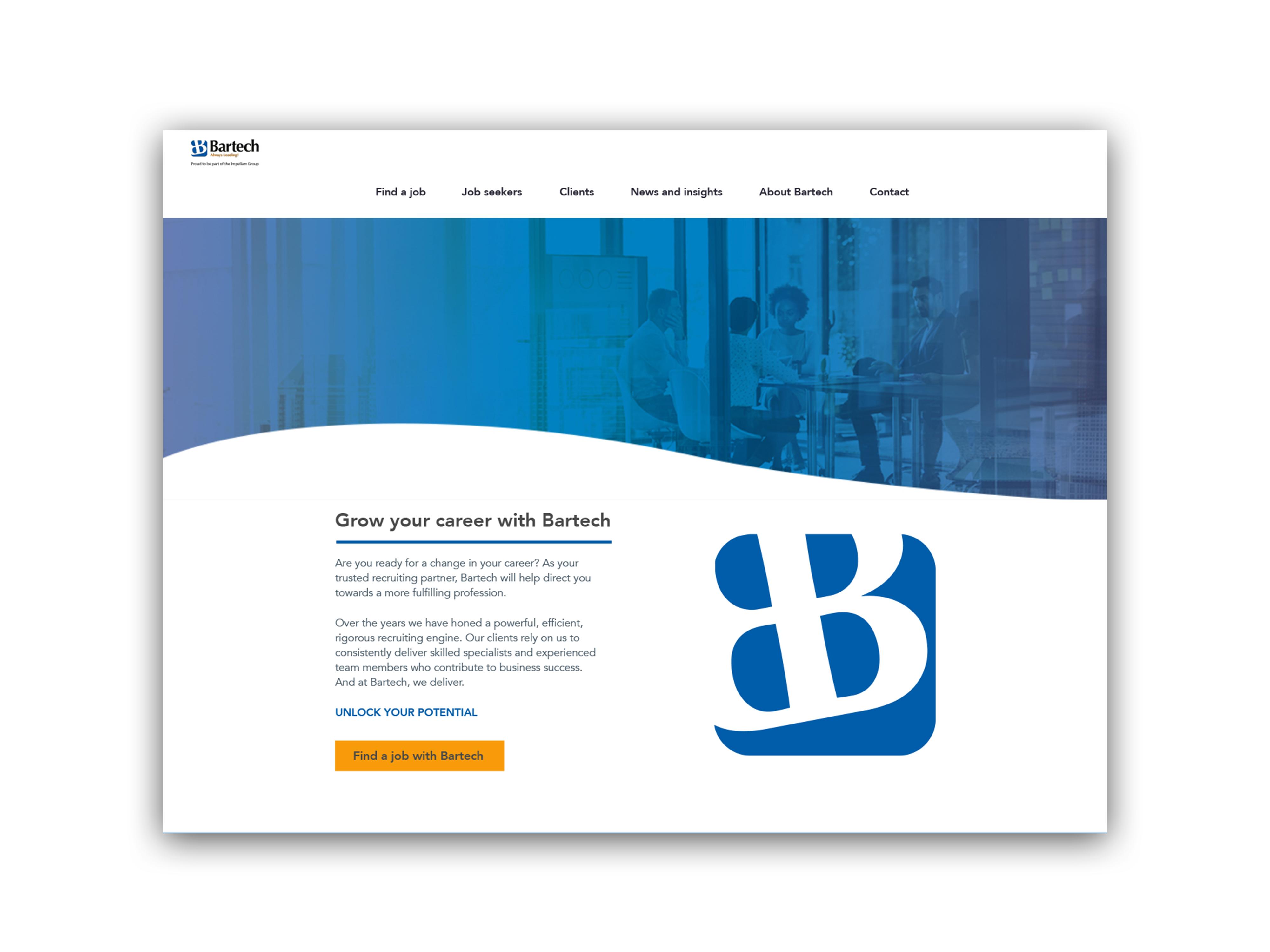 Bartech website desktop mockup
